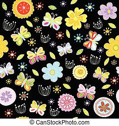 Floral pattern with butterflies on black background