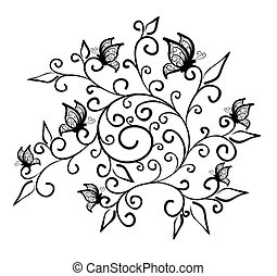 Floral pattern with butterflies.