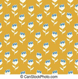 Floral pattern with cute white and blue flowers