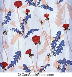 floral pattern with dandelions - Seamless vector pattern ...