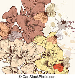 Floral pattern with flowers and ink