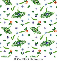 Floral pattern with green leaves