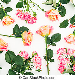 Floral pattern with pink roses flowers isolated on white background. Valentines day. Flat lay, top view.