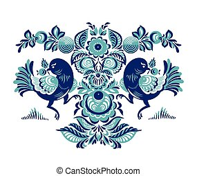 Floral pattern with two birds in Gorodets style