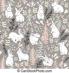 Floral pattern with white hares
