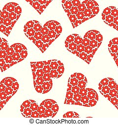 Floral patterned heart seamless background