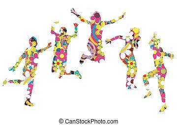 floral, patterned, jovens, silhuetas, pular