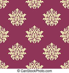 floral, patternon, seamless, gele, damast