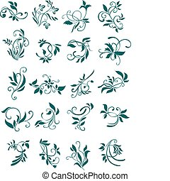 Floral patterns and decorations isolated on white for design