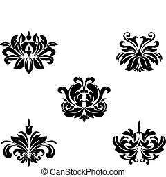 Floral patterns - Black flower patterns for design and...