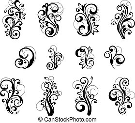 Floral patterns for design isolated on white