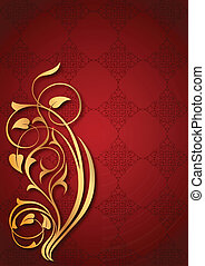 Floral patterns on red background