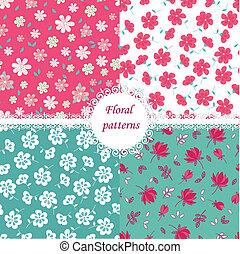 Floral patterns - Set of floral seamless patterns