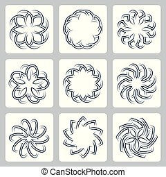 Floral patterns vector icons set