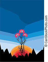 floral, pavot, paysage