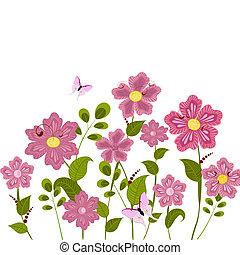 floral, pelouse, romantique