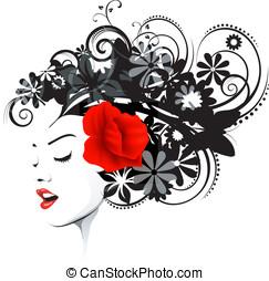 floral, penteado