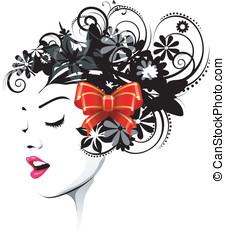 floral, penteado, fita, vermelho