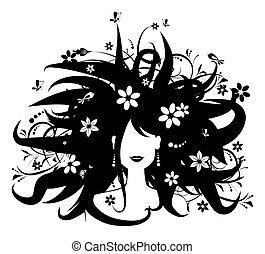 floral, penteado, mulher, silueta, para, seu, desenho