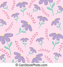 Floral pink background with purple flowers, colorful design