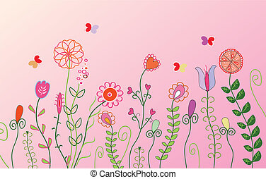 Floral pink banner with butterflies