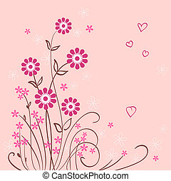 floral pink vector background with flower and heart