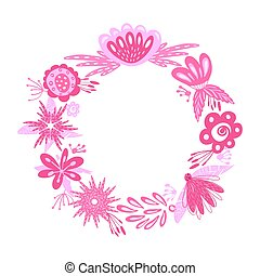 floral pink wreath - Wreath from flowers, leaves and ...