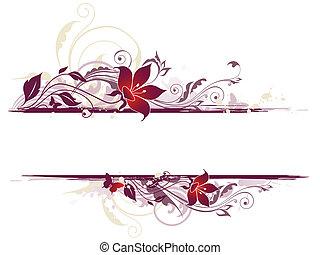 floral, plano de fondo, con, flores violetas