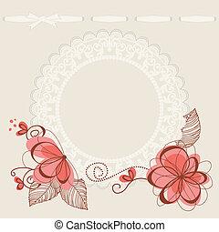 floral, plano de fondo, encaje, marco
