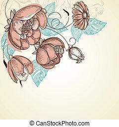 floral, plano de fondo, esquina, decoración, rosa subió, ramo