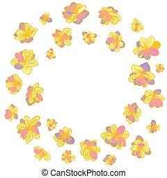 floral, plano de fondo, guirnalda, colorido