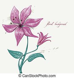 floral, plano de fondo, pintura