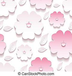 floral, plano de fondo, seamless, patrón, rosa, 3d, sakura, flor
