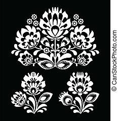 floral, polaco, blanco, gente, bordado