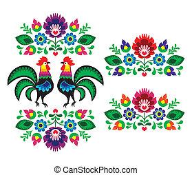 floral, polaco, bordado, étnico
