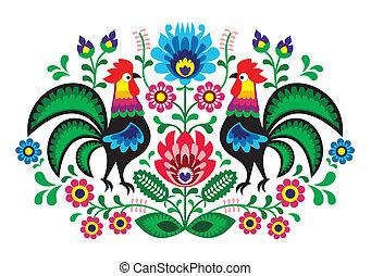 floral, polaco, bordado, gallos