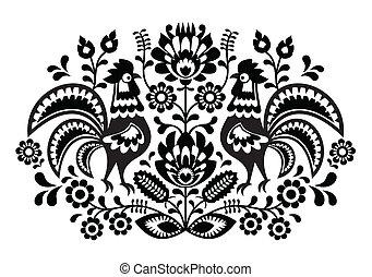 floral, polaco, gallos, bordado