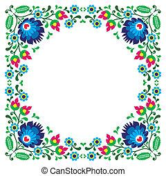 floral, polaco, marco, gente, bordado