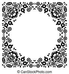 floral, polaco, negro, gente, bordado