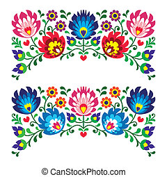 floral, polaco, povo, padrão