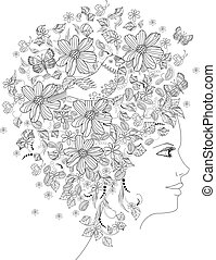 floral portrait of lovely girl for coloring book