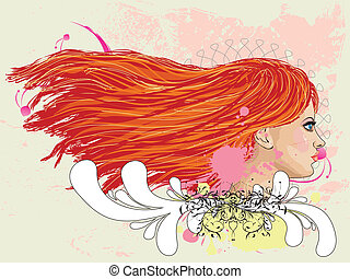 Floral portrait of red haired girl - Illustration of...