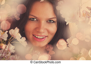 Floral portrait of young woman