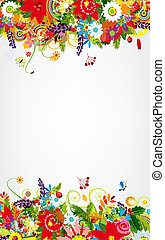 Floral postcard design with place for your text