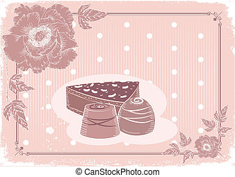Floral postcard with chocolate sweets .Vector background in ...