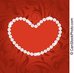 Floral postcard with heart made in pearls for Valentine Day, copy space for your text