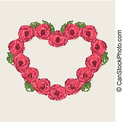 Floral postcard with heart made in roses for Valentine Day, copy space for your text