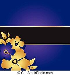 floral, pourpre, bannière, carte