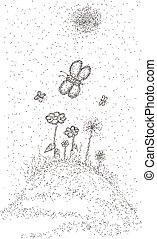 floral, pradera, con, mariposas