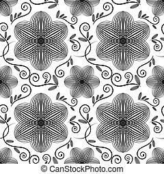 floral, pretas, branca, papel parede, pattern.